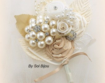 Boutonniere, Ivory, Tan, Beige, Champagne,Brooch, Corsage, Groom, Groomsmen, Mother of the Bride, Vintage Style, Pearls, Crystals