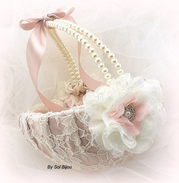Flower Girl Basket Blush : Flower girl basket ivory rose blush pink lace