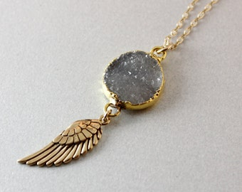 50% OFF SALE - Druzy & Angel Wing Charm Necklace - Angel Wing Jewelry - Gold Filled