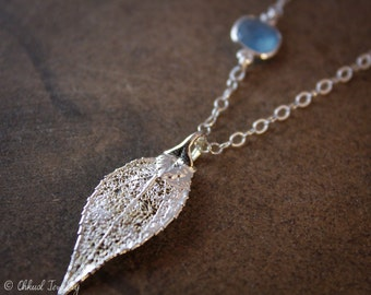 Silver Evergreen Leaf Necklace - Blue Chalcedony -  Dipped Leaf Necklace