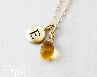 November Birthstone Necklace - Golden Yellow Citrine - Personalized Bridesmaids Necklaces