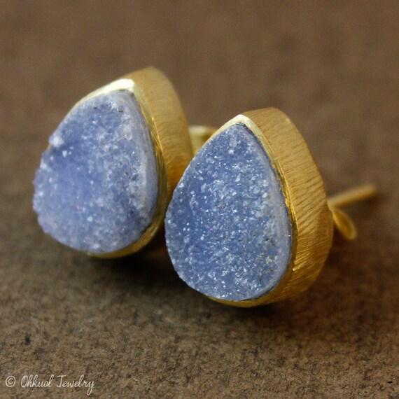 Gold Druzy Studs - Teardrop Post Earrings - Geode Studs