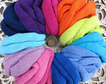 5 Summer Headband Headwraps Bright Cotton single colors - Choose any 5 Light Midi wraps