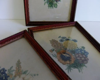 Vintage Flower Prints Donald Art Co Inc Numbered Made in USA Floral wall hanging Framed Art