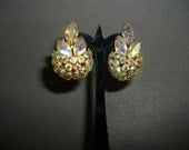 Sherman Rhinestones Crystal Clip On Earrings Accessories Glamourous Vintage Collectible
