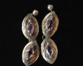 Sterling Silver Amethyst Earrings, Chased Metal