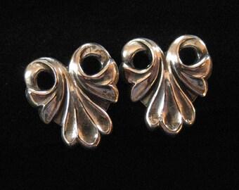 Sterling Silver Screw Back Earrings, Scrolling Design