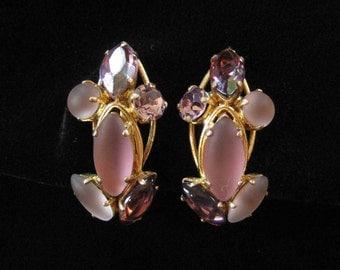 Frosted Rhinestone Earrings, Purple, Made in West Germany