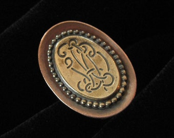 Copper and Brass Faux Monogram Ring, Adjustable