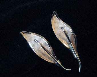Graceful Sterling Silver Leaf Earrings, Screw Backs