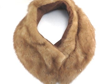 Light Brown Mink Coat Collar Vintage 1950s Pale Mink Collar - FREE Domestic Shipping