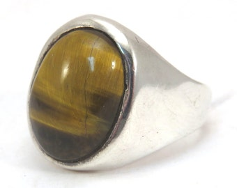 Sterling Silver Tiger Eye Mens Ring Vintage 1970s Oval Tiger Eye Gentlemans Ring
