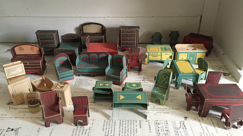 Sale Vintage Cardboard Dollhouse Furniture