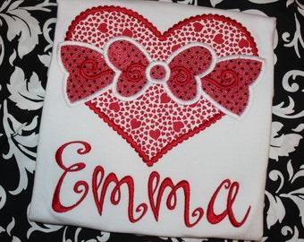 Valentine heart with bow- baby bodysuit, tshirt, or ruffle dress- girly Valentine