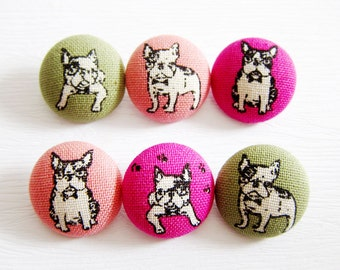 Sewing Buttons / Fabric Buttons - French Bulldogs in Candy Colors - 6 Large Fabric Buttons Set -