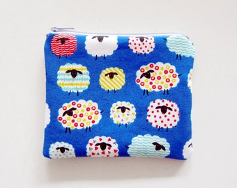 Zipper Pouch - Colorful Sheep on Blue - Available in Small / Large / Long