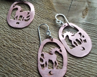 Handcut copper unicorn earrings