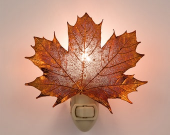Real Sugar Maple Leaf Dipped In Iridescent Copper Night Light - Iridescent Copper Leaves