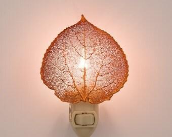 Real Aspen Leaf Dipped In Irridscent Copper Night Light  - Irridecent Copper Leaves