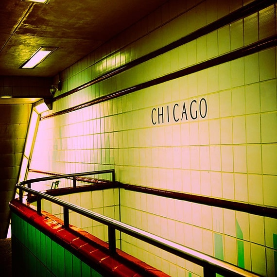 Chicago Photography / Subway art print / emerald green wall decor / Chicago CTA art / urban home decor / Office decor / retro decor / yellow