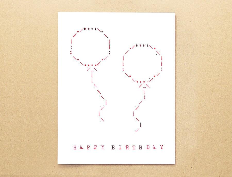 One Line Ascii Art Happy Birthday : Happy birthday balloons typewriter art ascii card by guimon