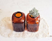 Vintage Little Brown Glass Bottles / LIttle Brown Bottle Vases
