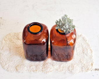 Vintage Little Brown Glass Bottles / LIttle Brown Bottle Vases