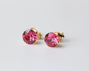 Rose Pink Swarovski Crystal Stud Earrings Gold Dainty Everyday Earrings