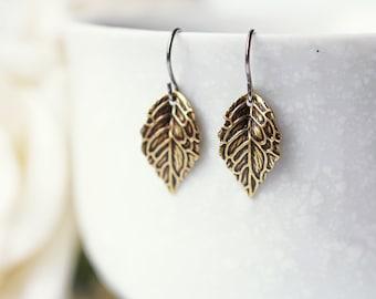 Antique Gold Leaves Earrings Modern Dainty Everyday Autumn Leaves Titanium Dangle Earrings