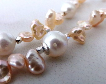 Pearl Necklace, Keshi Pearl Necklace, Sterling Silver, Pink Keshi Pearls, White Freshwater Pearls - Pink Strand