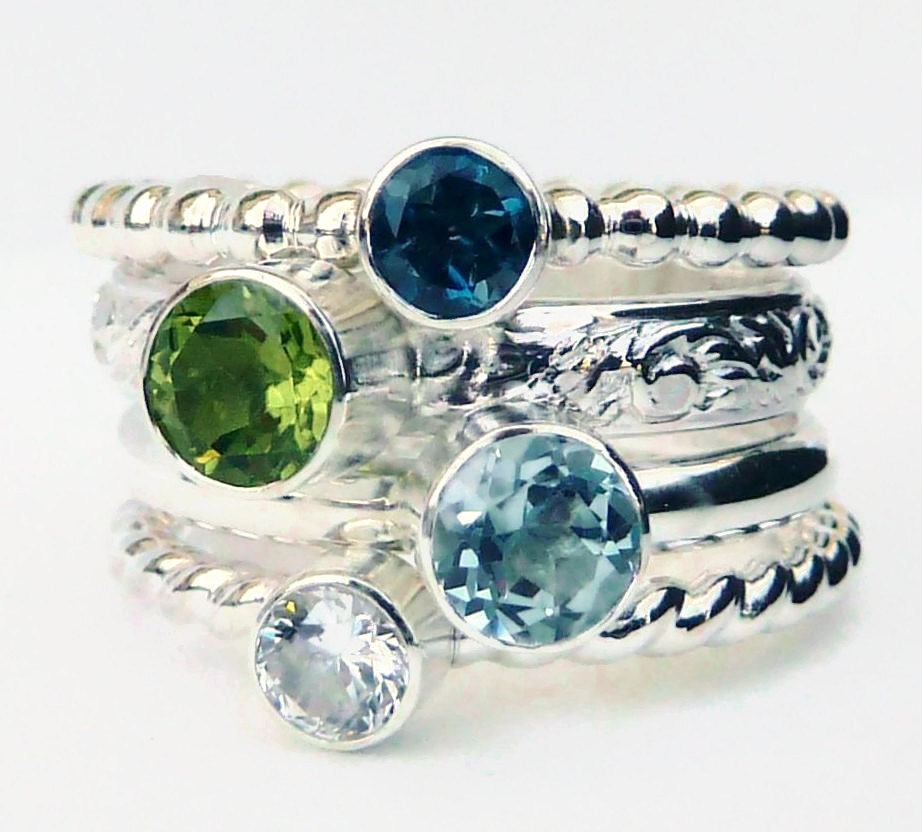 4 birthstone stacking rings mothers ring by gizmostreasures. Black Bedroom Furniture Sets. Home Design Ideas