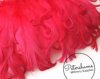 Curled Goose Nagorie Feather Fringe (around 8-10 feathers) for Millinery & Crafts - Fuschia Pink