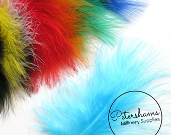 20 Fluffy Marabou Feathers for Millinery Hat Trimming & Crafts - Assorted Colours