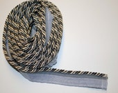 Silver and black twisted 1/4  inch  Decorative cord with lip 5 yards