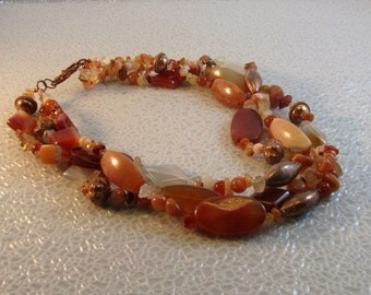 Red Carnelian and Copper Bead Necklace
