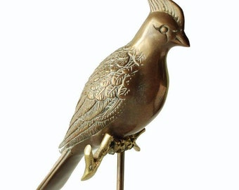 Vintage Brass Bird on Perch Retro Home Decor