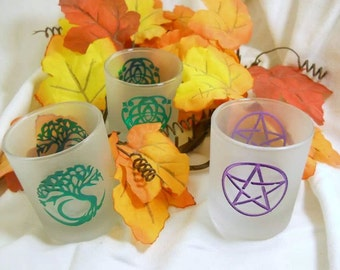 Votive Candle Holder - Glass with symbol - Triquetra, Pentacle, Tree of Life - Wiccan - Pagan - Witch - Altar Supply