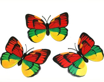 3 Yellow green and Red Butterflies for Hair Pins, Favors, Hair Clips, Decor