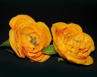 2  Medium Tangerine Silk Ranunculus - Artificial Flowers, Silk Flowers