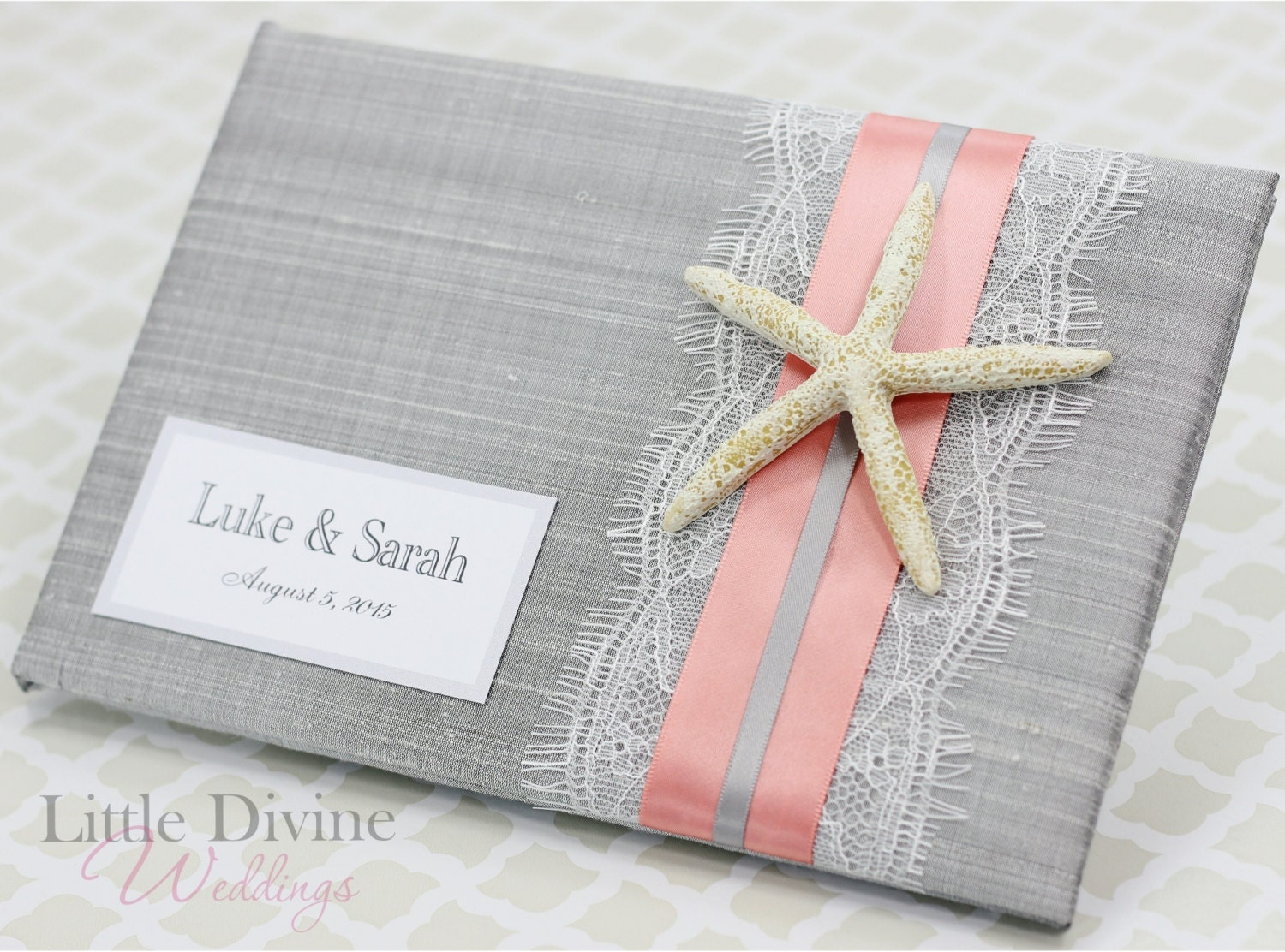 wedding guest book beach theme starfish custom by littledivine