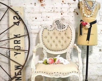 RESERVE for TAMMY Painted Cottage Chic Shabby French Upholstered Tufted Arm Chair