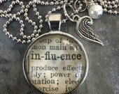 One Word Pendant with Angel Wing Charm - Influence