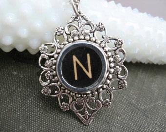 Vintage Typewriter Key Pendant Necklace - Letter N - Typewriter key Jewelry