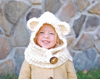 Children's Bear Hood / Cowl