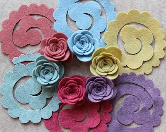 Sweater Weather - 3D Rolled Roses Large - 12 Die Cut Wool Blend Felt Flowers - Unassembled Rosettes