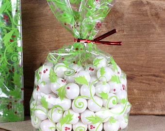 Holly Berries Cellophane Bags & Twist Ties, Christmas Treat Bags, Clear Candy Bags, Clear Favor Bags, Clear Treat Bags, Sweet Bags (12)