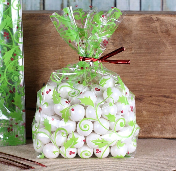 Small holly berries cellophane bags twist ties