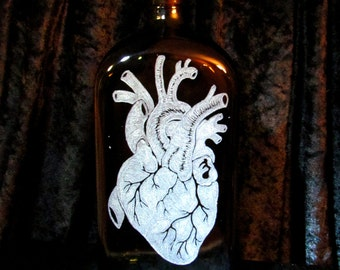 Duelling Symbolism Life or Death Upcycled Jagermeister Spice Bottle Etched Freehand