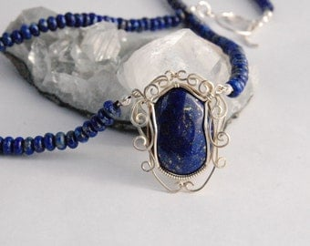 Lapis Lazuli and Sterling Silver Wire Wrapped Necklace