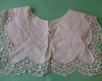 SALE...Antique Edwardian Collar for Blouse Embroidered Ecru Crochet Lace Lady Cotton